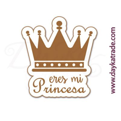 "White lacquered board label with engraved message ""YOU ARE MY PRINCESS"""