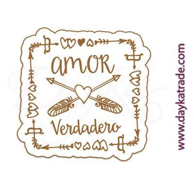 """Etiqueta de tablero lacado blanco con mensaje grabado """"Amor verdadero"""""""
