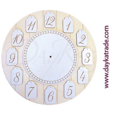 Tablero rayado en madera de chopo, con silueta de reloj y números en tablero lacado, Dayka Trade.