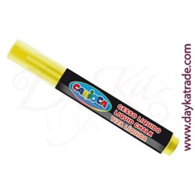 Yellow liquid chalk marker for painting on Carioca blackboard.