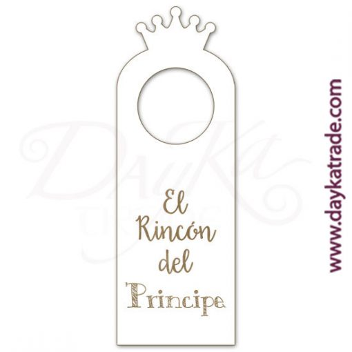 "White lacquered board label with engraved message ""The Prince's Corner"", with engraved designs that can be painted with Artis acrylic paints. Available in Catalan or Spanish."