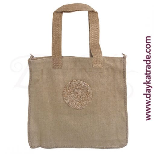 Jute colored shopper bag with string circle.