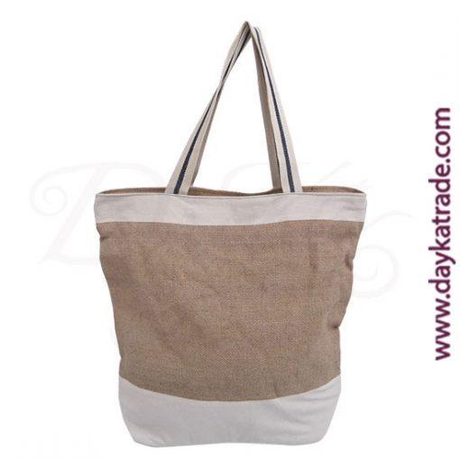 Bolso shopper de yute con franjas horizontales de tela blanca