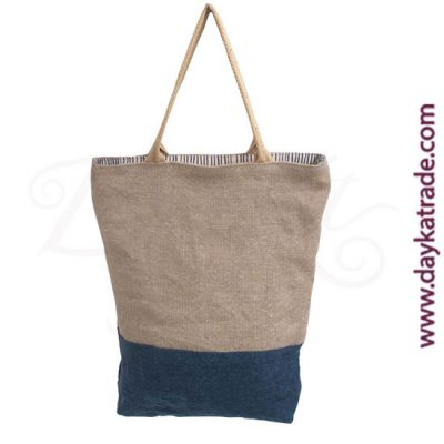 Jute shopper bag with horizontal strip of denim