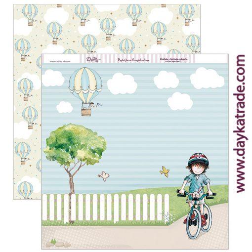 SCP-209 Papel scrapbooking niño bici y globos