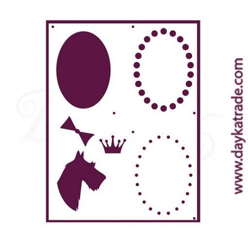 "Stencil A3 Dayka ""PERRO+MARCO"" para pintar en 4 fases"