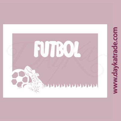 """Marco + texto """"fútbol"""" en cartón fino blanco, flexible y adaptable a todas las superficies. Se puede pegar y pintar fácilmente. Se utiliza en vidrio, para trabajos de scrapbooking, pegar en mueble, marcos..."""