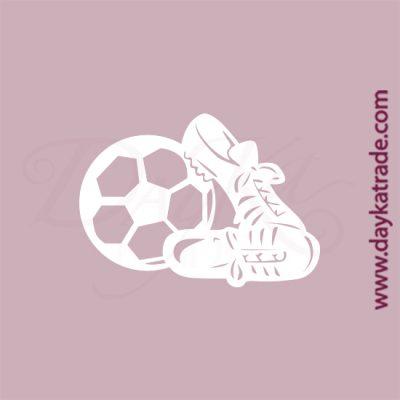 Balón y botas de fútbol en cartón fino blanco, flexible y adaptable a todas las superficies. Se puede pegar y pintar fácilmente. Se utiliza en vidrio, para trabajos de scrapbooking, pegar en mueble, marcos...