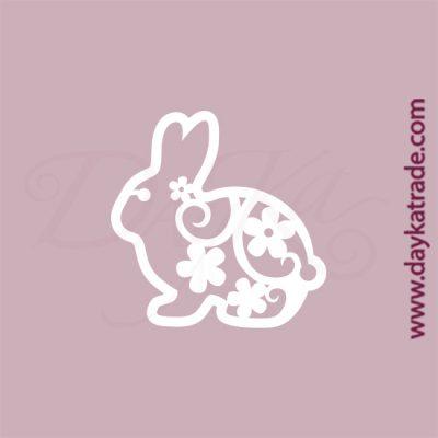 Conejo en cartón fino blanco, flexible y adaptable a todas las superficies. Se puede pegar y pintar fácilmente. Se utiliza en vidrio, para trabajos de scrapbooking, pegar en mueble, marcos...