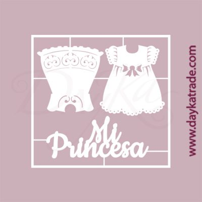 """Vestidos de niña y texto """"mi princesa"""" en cartón fino blanco, flexible y adaptable a todas las superficies. Se puede pegar y pintar fácilmente. Se utiliza en vidrio, para trabajos de scrapbooking, pegar en mueble, marcos..."""