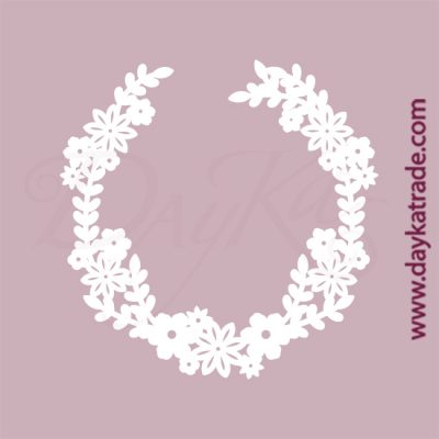 Corona de flores en cartón fino blanco, flexible y adaptable a todas las superficies. Se puede pegar y pintar fácilmente. Se utiliza en vidrio, para trabajos de scrapbooking, pegar en mueble, marcos...