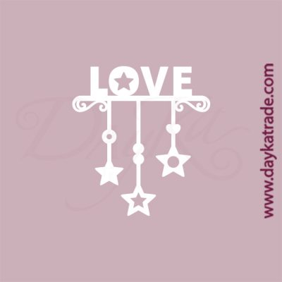 """Guirnalda con letras """"Love"""" en cartón fino blanco, flexible y adaptable a todas las superficies. Se puede pegar y pintar fácilmente. Se utiliza en vidrio, para trabajos de scrapbooking, pegar en mueble, marcos..."""