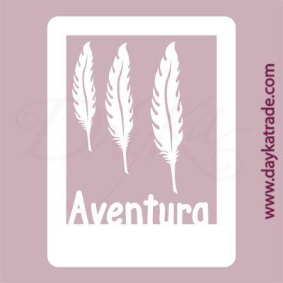 """Marco con el texto """"aventura"""" y plumas en cartón fino blanco, flexible y adaptable a todas las superficies. Se puede pegar y pintar fácilmente. Se utiliza en vidrio, para trabajos de scrapbooking, pegar en mueble, marcos..."""