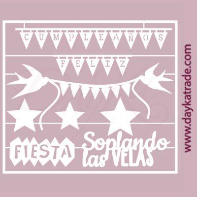 Banderines Cumpleaños Feliz en cartón fino blanco, flexible y adaptable a todas las superficies. Se puede pegar y pintar fácilmente. Se utiliza en vidrio, para trabajos de scrapbooking, pegar en mueble, marcos...