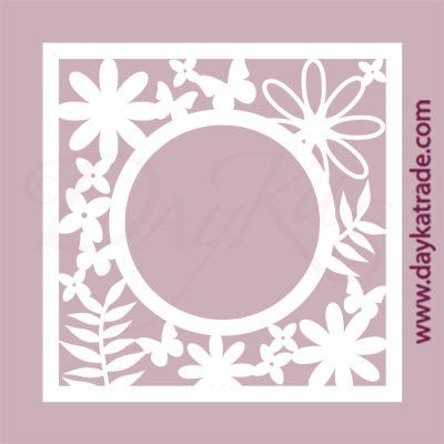 Marco de flores en cartón fino blanco, flexible y adaptable a todas las superficies. Se puede pegar y pintar fácilmente. Se utiliza en vidrio, para trabajos de scrapbooking, pegar en mueble, marcos...