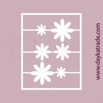 Set de 6 margaritas en cartón fino blanco, flexible y adaptable a todas las superficies. Se puede pegar y pintar fácilmente. Se utiliza en vidrio, para trabajos de scrapbooking, pegar en mueble, marcos...