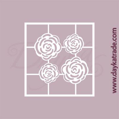 Set de 4 flores en cartón fino blanco, flexible y adaptable a todas las superficies. Se puede pegar y pintar fácilmente. Se utiliza en vidrio, para trabajos de scrapbooking, pegar en mueble, marcos...