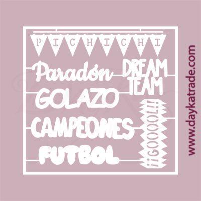 Palabras relacionadas con el fútbol en cartón fino blanco, flexible y adaptable a todas las superficies. Se puede pegar y pintar fácilmente. Se utiliza en vidrio, para trabajos de scrapbooking, pegar en mueble, marcos...