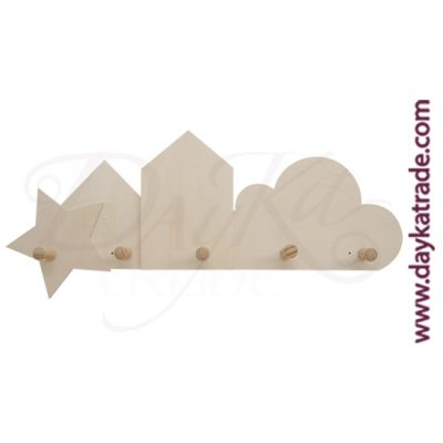 Star-shaped coat rack, little house and cloud with 5 Dayka knobs.