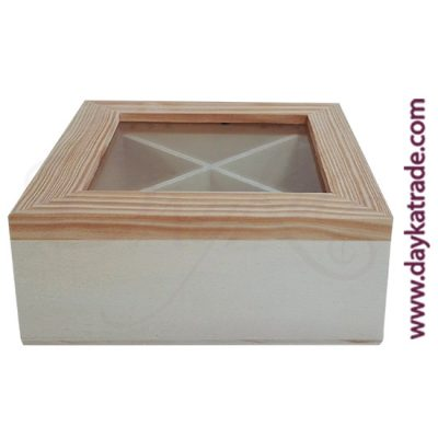Wooden box with glass on top for infusions
