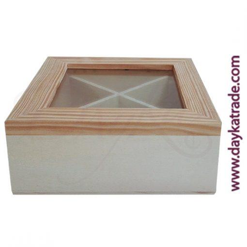 Cajita de madera con cristal en la parte superior para infusiones