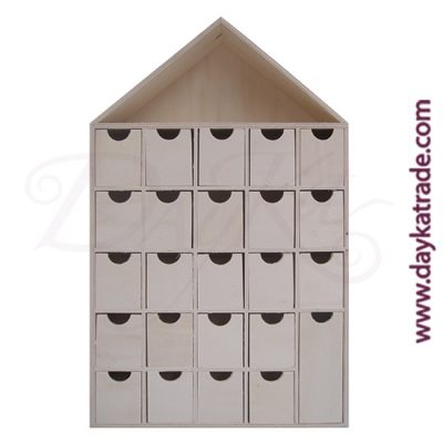 Mini drawer unit in the shape of a small house with 25 holes of 21 x 45 x 12 cm