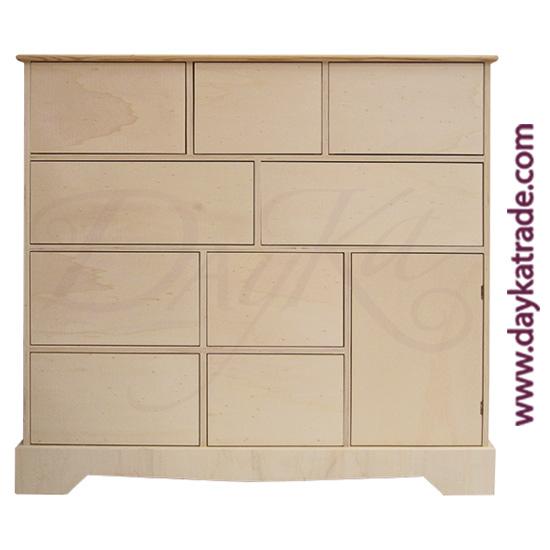 Cómoda de 1 puerta y 9 cajones de89 x 84 x 30 cm