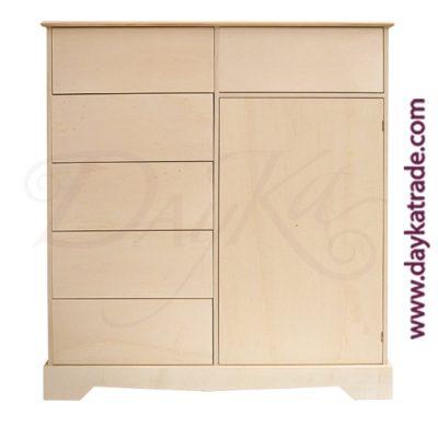 Aparador de 1 puerta y 6 cajones de 90 x 100 x 30 cm