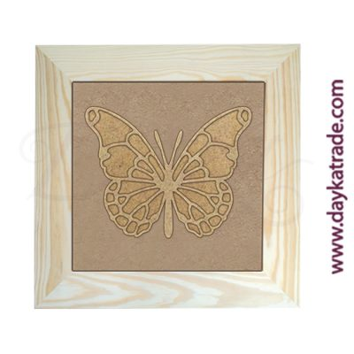 Cuadro con marco de madera con lienzo de yute y silueta de cartón en forma de mariposa común Dayka Trade.