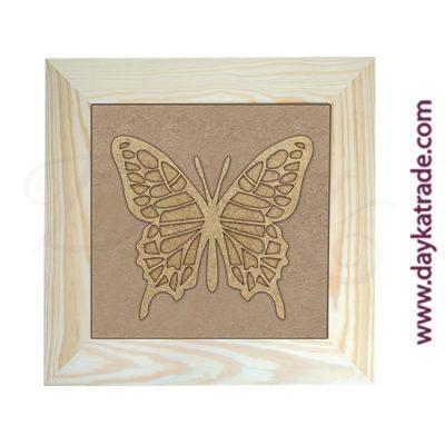 Cuadro con marco de madera con lienzo de yute y silueta de cartón en forma de mariposa monarca Dayka Trade.