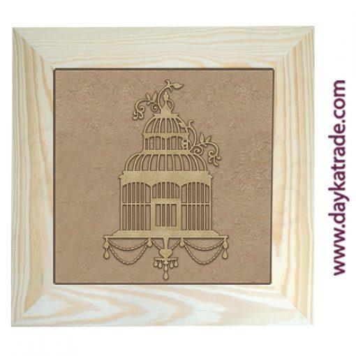 Cuadro con marco de madera con lienzo de yute y silueta de cartón en forma de jaula Dayka Trade.
