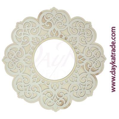 Marco con filigrana de flor en madera de chopo y tablero blanco lacado Dayka