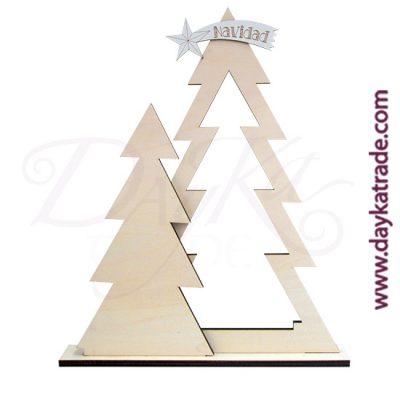 Kit Navidad abeto con estrella fugaz en madera y las piezas blancas en tablero lacado de Dayka Trade.