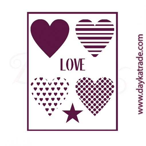 """Stencil A3 Dayka """"corazones + love + estrella""""."""