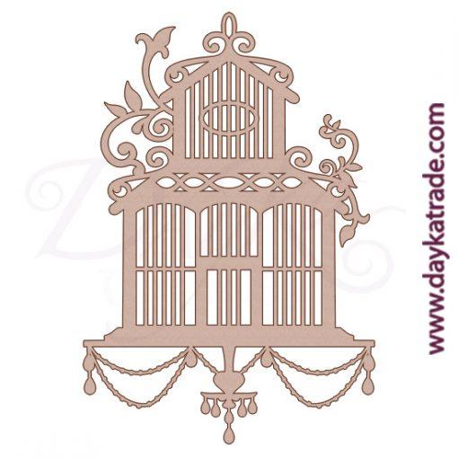 Silueta de cartón con forma de jaula, para decorar álbum de scrapbooking o trabajos de pintura decorativa.Producto Dayka trade