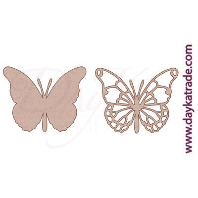 Set de 2 siluetas de cartón con forma de mariposa monarca, para decorar álbum de scrapbooking o trabajos de pintura decorativa.Producto Dayka trade