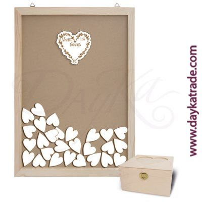 "Wedding kit. Includes glass frame with top slot + Heart with message ""Long live the bride and groom"" + 50 small hearts + heart box."