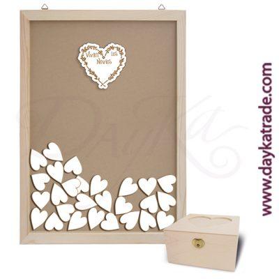 """Kit de boda. Incluye marco de cristal con ranura superior + Corazón con mensaje """"Vivan los novios"""" + 50 corazones pequeños + caja de corazón."""