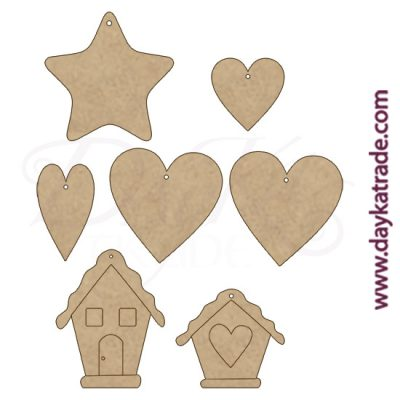 Set de casitas, estrellas y corazones en DM de Dayka Trade