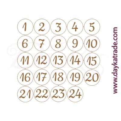 Circular numbers from 1 to 24 to decorate the advent box (ref. 0431014 ) in Dayka trade's lacquered board.