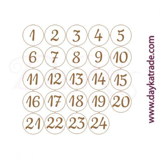 Números circulares del 1 al 24 para decorar la caja de adviento (ref. 0431014 ) en tablero lacado de Dayka trade.