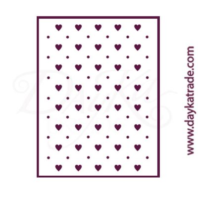 Stencil size A4 (21x30 cm). Pattern with hearts