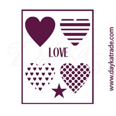 Stencil size A4 (21x30 cm). Hearts with different motifs + Love + star.