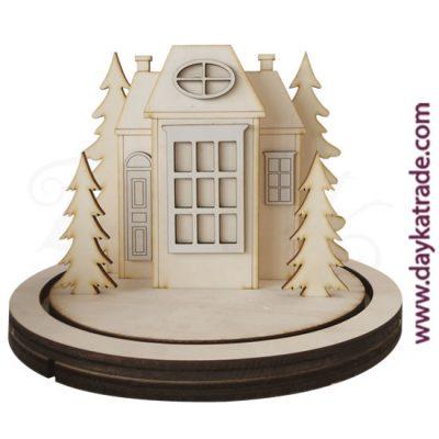 Set de casita y abetos con peana en madera de chopo de Dayka Trade. Decoración Navidad