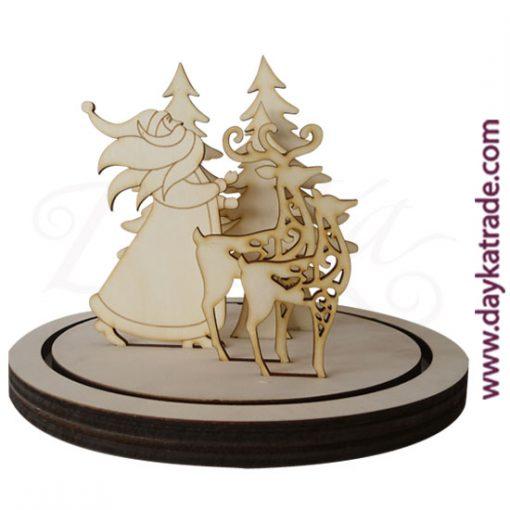 Set de Papá Noel con barba, con abetos y renos con peana en madera de chopo de Dayka Trade para campana grande (ref. 10021414). Decoración Navidad