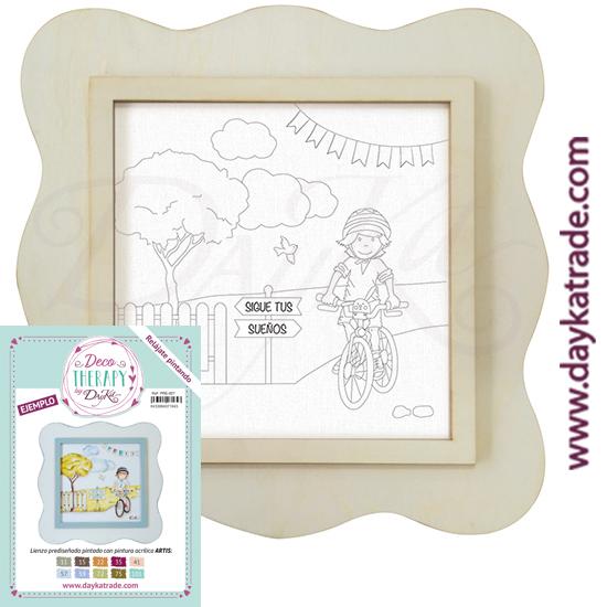 """Deco Therapy by Dayka para que te relajes pintando. Lienzo prediseñado niño bici con texto """"Sigue tus sueños"""" con marco de madera y adhesivo. Incluye etiqueta con ejemplo pintado y colores empleados para inspirarte."""
