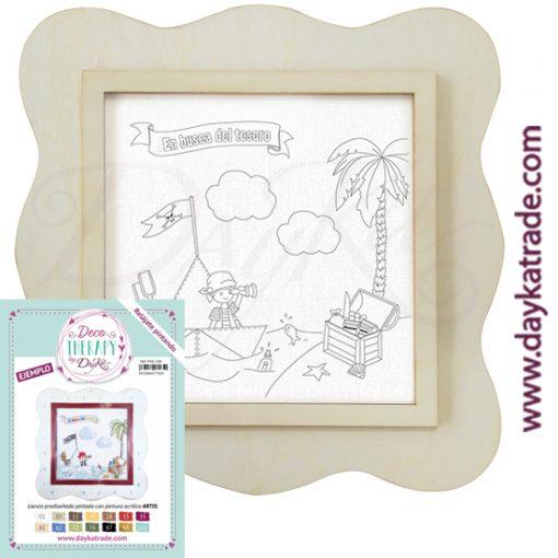 """Deco Therapy by Dayka para que te relajes pintando. Lienzo prediseñado niño pirata con texto """"En busca del tesoro"""" con marco de madera y adhesivo. Incluye etiqueta con ejemplo pintado y colores empleados para inspirarte."""