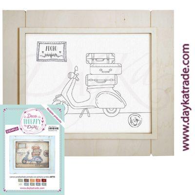 """Deco Therapy by Dayka para que te relajes pintando. Lienzo prediseñado moto con texto """"Adoro viajar"""" con marco de madera y adhesivo. Incluye etiqueta con ejemplo pintado y colores empleados para inspirarte."""