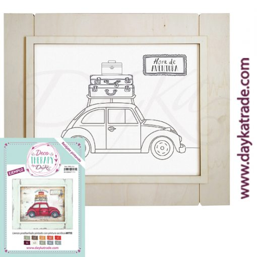 """Deco Therapy by Dayka para que te relajes pintando. Lienzo prediseñado coche con texto """"Hora de aventura"""" con marco de madera y adhesivo. Incluye etiqueta con ejemplo pintado y colores empleados para inspirarte."""