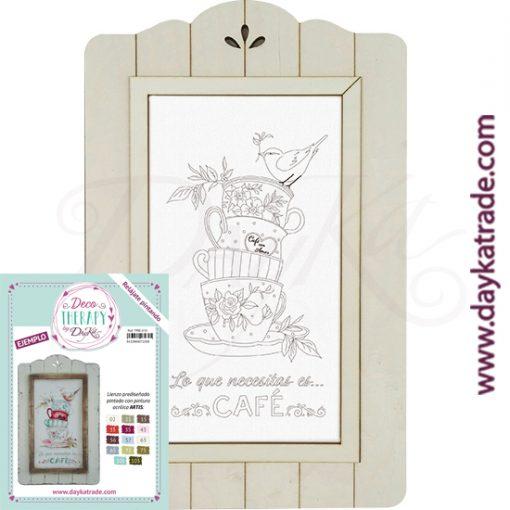 """Deco Therapy by Dayka para que te relajes pintando. Lienzo prediseñado conjunto tazas de café con texto """"Lo que necesitas es... café"""" con marco de madera y adhesivo. Incluye etiqueta con ejemplo pintado y colores empleados para inspirarte."""